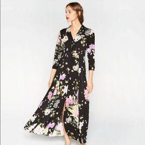 Zara Button-down Floral Navy Blue Maxi Dress